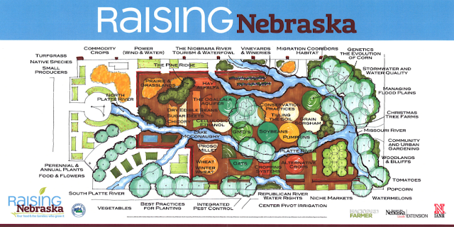 Illustrated map showing various geographical features of Nebraska