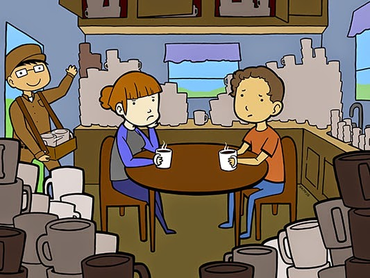 Illustration of man and woman drinking coffee surrounded by coffee cups while man carrying more coffee walks into room