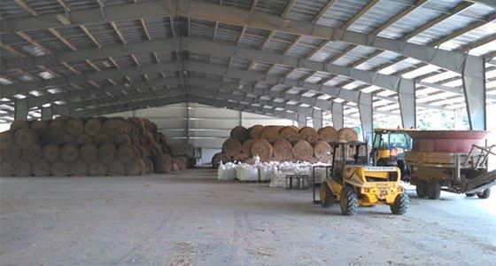 FDC Enterprises warehouse storing bales