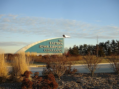Sign for The Eastern Iowa Airport in Cedar Rapids