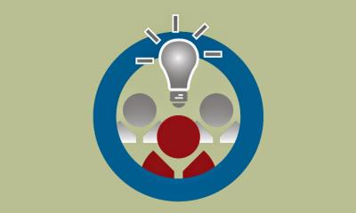 Graphic of light bulb above head of a person