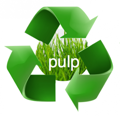 """Recycling symbol over photo of grass with the word """"pulp"""" written on it"""