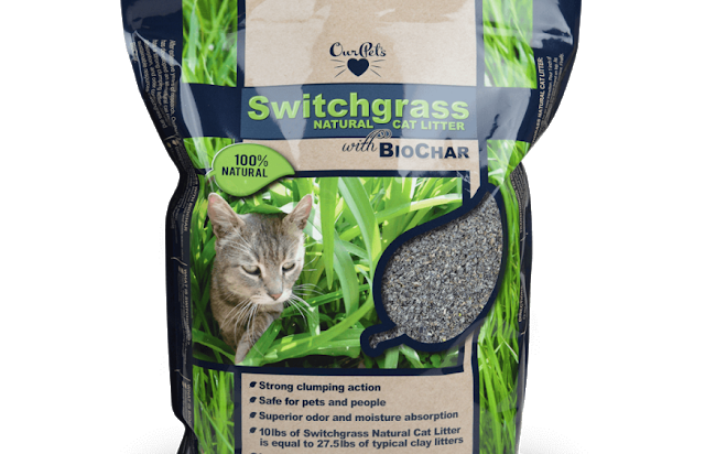 Bag of switchgrass cat litter